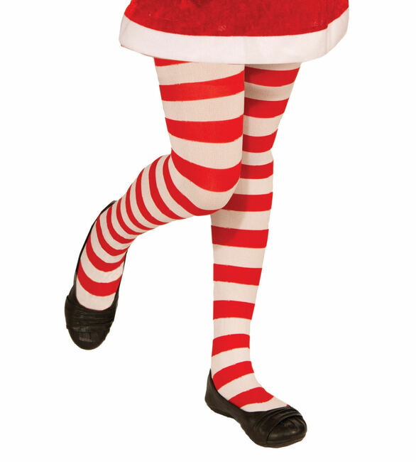 Red and White Striped Kids Christmas Tights
