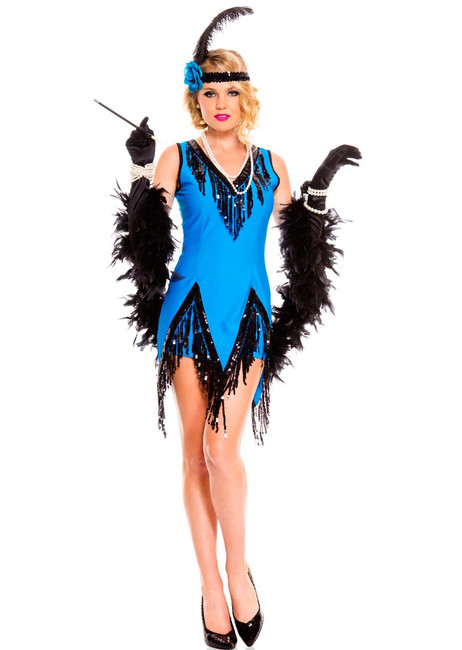 Fascinating Skyblue Ladies Flapper Costume