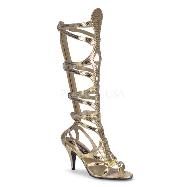 Gold Egyptian Metallic Snakeskin Sandal