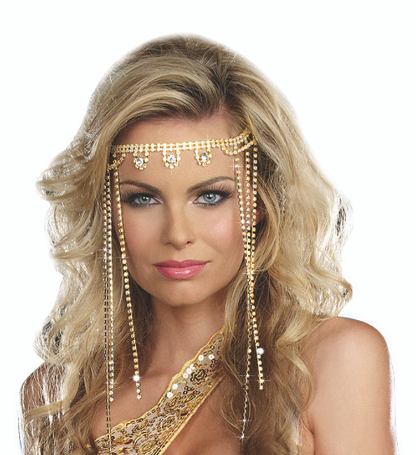 Shimmering Goddess Headpiece with Cascading Rhinestones