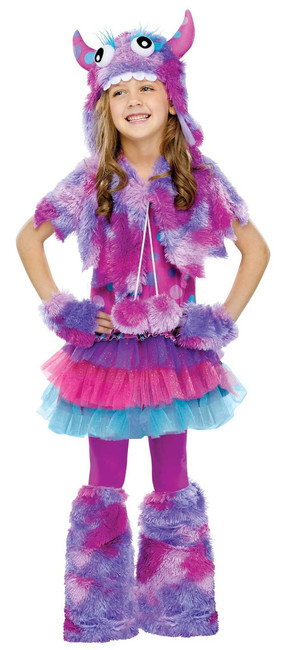 Girls Purple Polka Dot Monster Halloween Costume