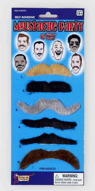Moustache Party Set of 6 Moustaches