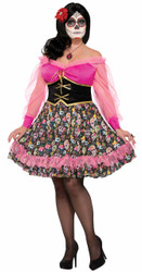 Ladies Plus Day of the Dead Senorita Costume