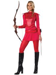 Red Warrior Huntress Ladies Costume
