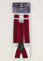 Roaring 20s Red and Blue Striped Suspenders