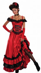 Red Saloon Girl Western Costume