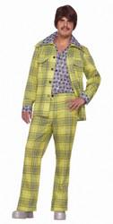Lime Green Men's Plaid Leisure Suit Costume