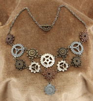 Steampunk Multi Gear Necklace