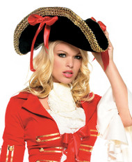 Pirte Hat with Gold Trim and Red Bows