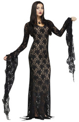 Lace Morticia Addams Family Halloween Costume