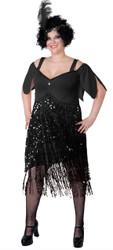 Lava Diva Ladies Plus-sized Black Flapper Dress