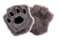 Child Fingerless Grey Paw Gloves