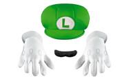Super Mario Child Size Luigi Hat Moustache & Gloves Kit
