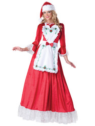 Mrs. Claus Classic Cristmas Dress with Embroidered Apron