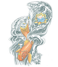 Koi and Lotus Flower Temporary Tattoo