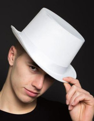 Solid White Top Hat with Self Adjusting Sizer