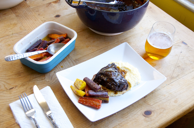 braised short ribs with rainbow carrots and creamy polenta