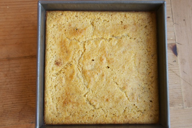 baked cornbread in square baking pan