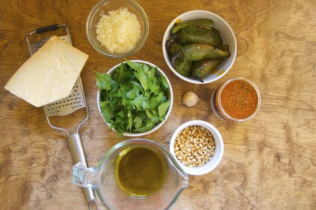 ingredients for jalapeño and cilantro pesto