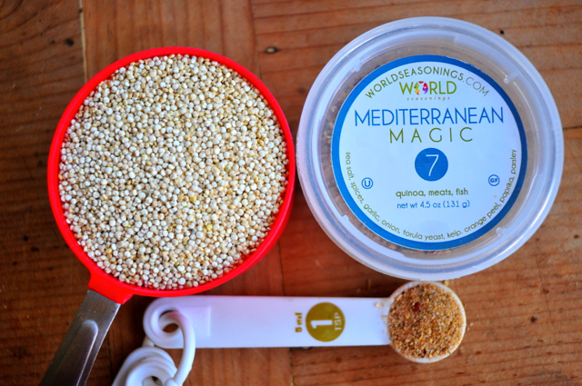 uncooked quinoa with all natural mediterranean seasonings