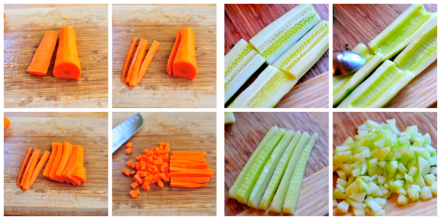 diced carrots and cucumbers