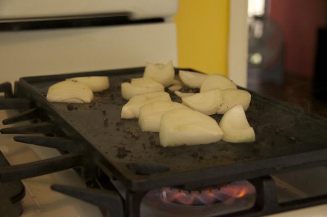 chopped onions deglaze hot pan