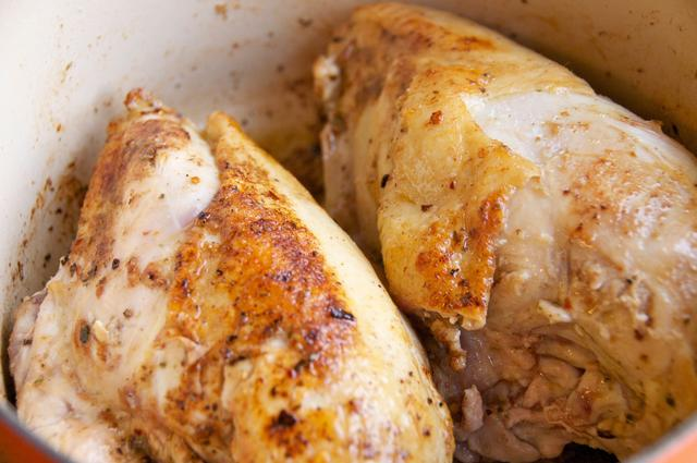 chicken breast browned in cast iron dutch oven