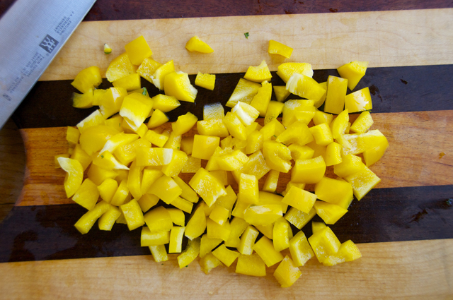 diced yellow bell peppers