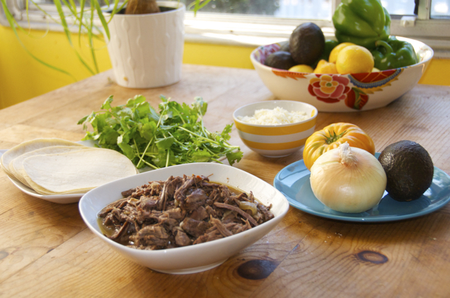 shredded beef and fresh ingredients
