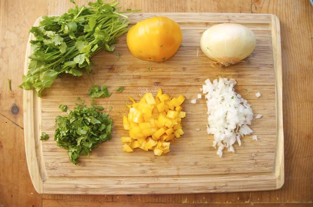 diced tomato, onion and cilantro