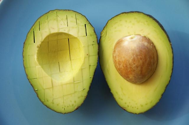 cutting avocados into cubes