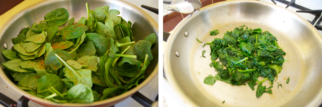 saute spinach with chipotle seasonings
