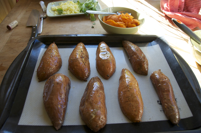 sweet potato skin with chipotle seasoning and lime juice