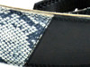 """2 .5"""" Two-Tone Black and Boa Leather Guitar Strap"""