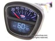 Lambretta SIP Rev Counter/Speedometer - S3 Black (DW-50000800)
