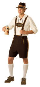 This costume includes Lederhosen with braces, and also includes a pullover shirt with lace-up collar, a hat, and knee socks. Adult size medium 38-40.