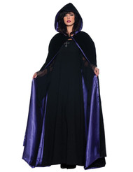 This cape will bring your costume to life! Black velvet full-length hooded cape with purple satin lining. One size fits most.