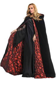 This enchanting cape will put a spell on everyone you see. This 63-inch long deluxe hooded black velvet cape has a red coffin-look, satiny lining and a single button closure at the neck. One size fits most.