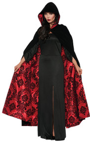 This cape will draw the attention of all humans and un-dead alike!  Deluxe black velvet hooded cape with red satin flocked lining. One size fits most female adults.