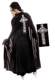 Turn heads with this Celtic cape! This 54 inch black full length cape is made of the finest steam velour. Cape is sheer and has an embroidered Celtic cross on the back.