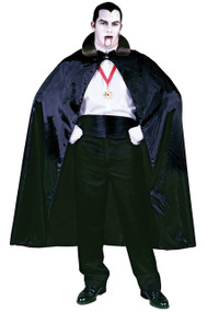 Become Dracula himself with this black cape! 56 inch long satin-like cape with black collar. 100 percent polyester.
