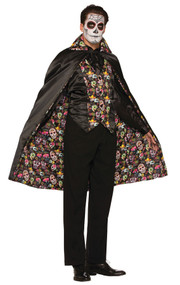 The perfect cape for any Dia De Los Muertos costume! This Day of the Dead cape is black on the outside and has an incredible lining with colorful sugar skull designs on the inside. One size fits all.