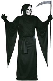 This grim reaper robe will send chills down your spine. Black hooded robe and belt. Adult standard fits up to 6ft, 200lbs.