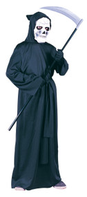 Turn your child into the Grim Reaper with this amazing robe! Black hooded robe and belt.