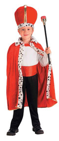 Your child will become the king of the house with this costume! Tall red crown with gold strip from top to bottom in the middle and sides and fur around the bottom. Also comes with a red robe with white fur with black dots down the lapels to the bottom of the robe. One size fits most children.