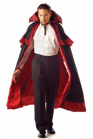 This cape would be a great addition to your costume! Deluxe knee length black cape with red lining, shoulder layers with tie front and stand up collar. One size fits most adults.