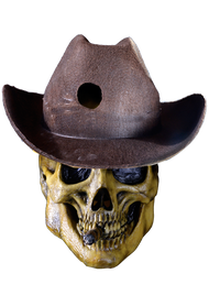 Sculpted by Josh Wasylink/ Trick or Treat Studios and Flying Frog Productions are proud to present the Undead Outlaw mask from the number one selling board game, Shadows of Brimstone. The Undead Outlaw comes with attached cigar and hat. Now you can be one of the great monsters of Brimstone, the Undead Outlaw, this Halloween or at your favorite Cosplay event.