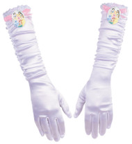 White full-length gloves have shirring on the arm and a Princesses cameo on the top.