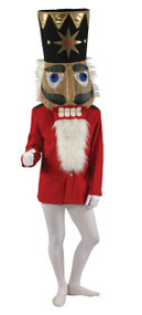 Full over-the-head Nutcracker mask. It is made of a durable lightweight plastic mesh. Features attached fabric-lined foam-rubber hat trimmed in gold and acrylic gems, and jaw with white vinyl teeth and faux fur beard. Also designed with adjustable head support and offers excellent hearing, visibility, clear speech, and ventilation for the performer inside. 44 inches tall.