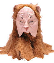 Become the famous Cowardly Lion with this incredible over-the-head mask from a childhood favorite, Wizard of Oz. Face front is latex. Lower jaw area is cut out for ease of talking. Attached plush fur covers back of head in a golden lion mane.